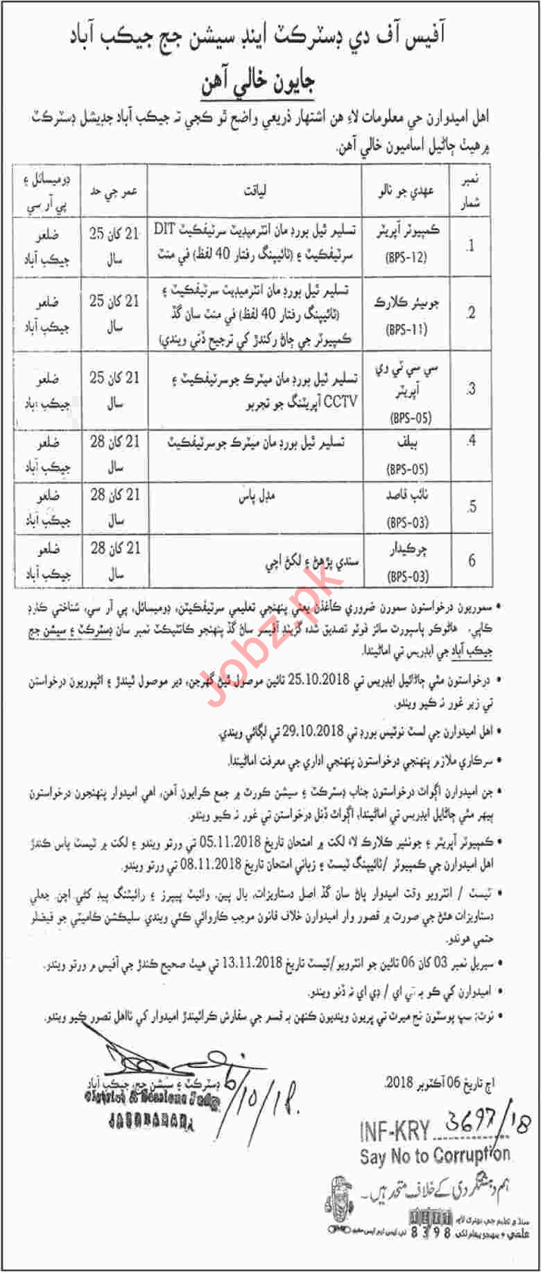 District & Session Judge Office Jacobabad Jobs 2018