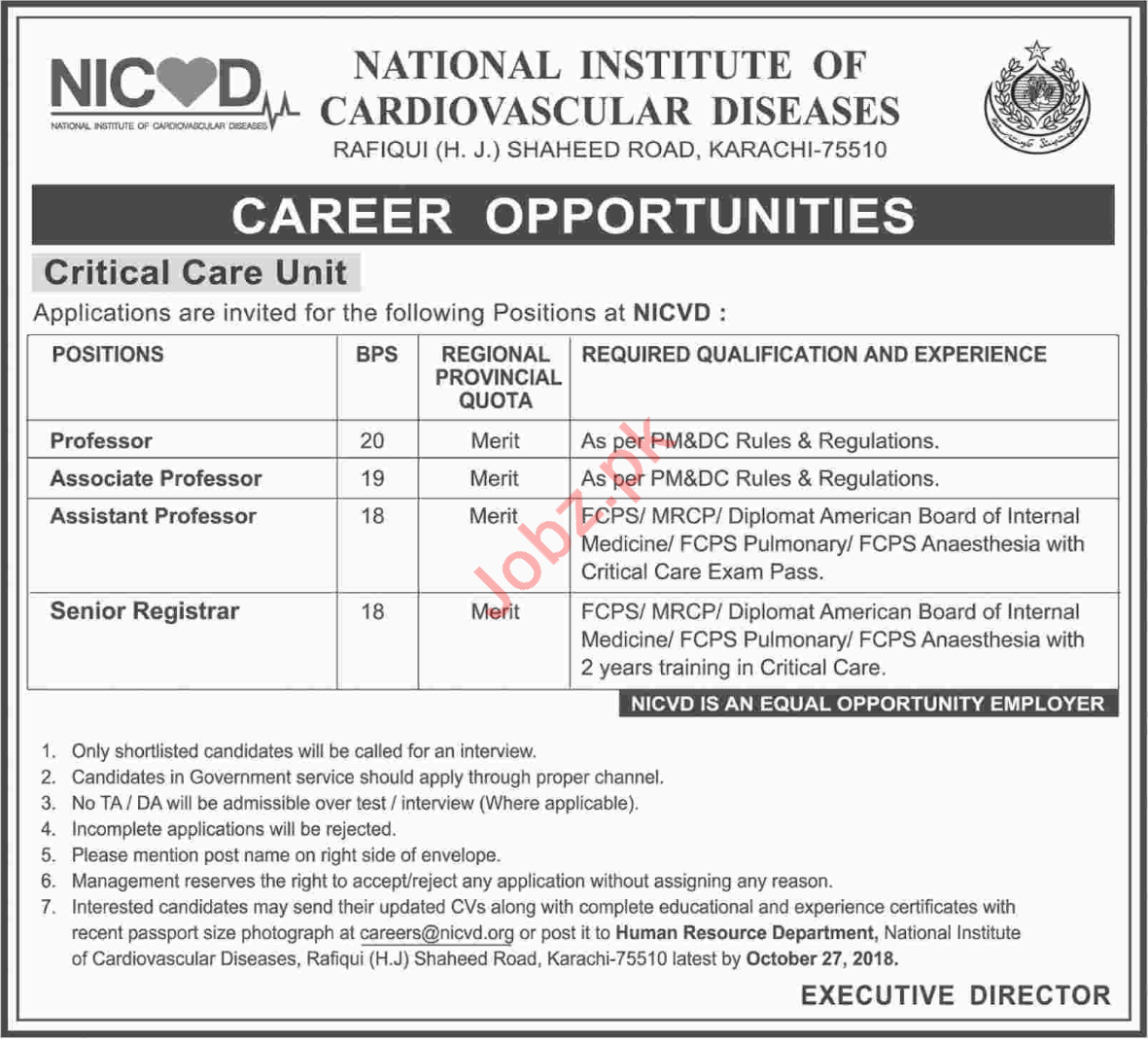 National Institute of Cardiovascular Diseases Faculty Jobs