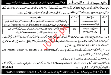 Internee Operations Jobs in Punjab Food Authority PFA