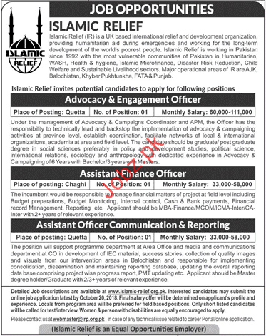 Islamic Relief NGO Advocacy & Engagement Officer Jobs