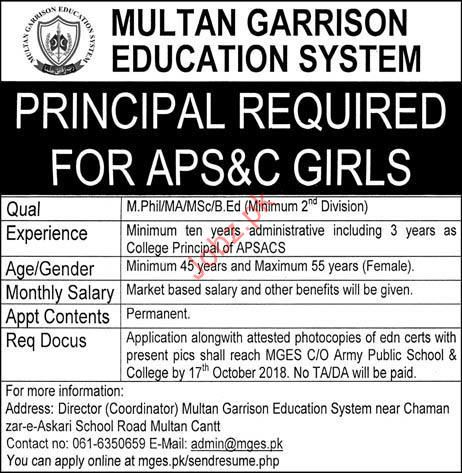 Multan Garrison Education System Principal Jobs 2018