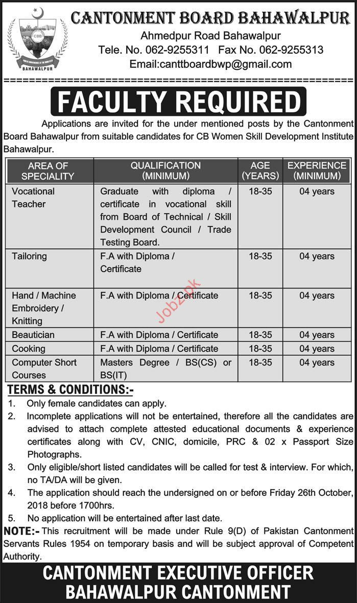 Vocational Teacher Jobs in CB Women Skill Development