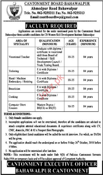 Vocational Teacher Jobs in CB Women Skill Development