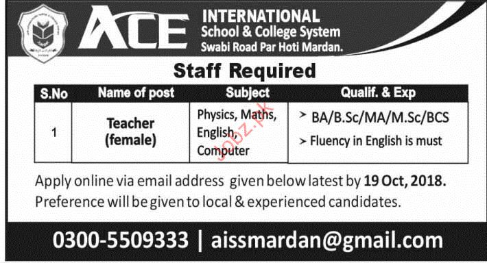 ACE International School & College System Teaching Jobs