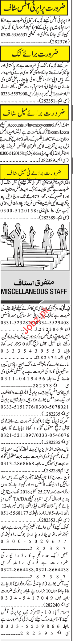 Property Office Staff Jobs 2018 in Islamabad