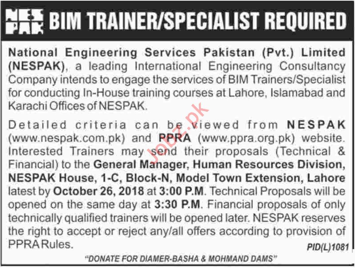 NESPAK Lahore Jobs 2018 for BIM Trainers