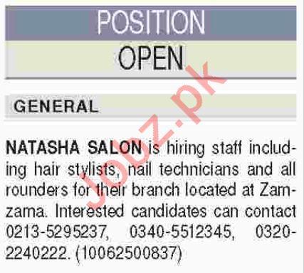 Beautician, Hair Stylist & Nail Technician Jobs 2018