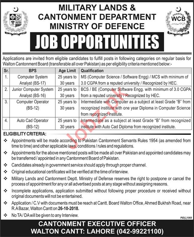 Military Lands & Cantonment Department Lahore Jobs 2018
