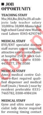 Paramedical Staff Jobs 2018 in Lahore