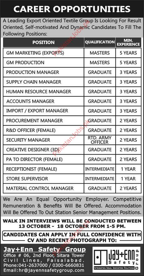 Manager Accounts Jobs in Textile Group