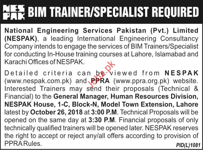 BIM Trainer Jobs in National Engineering Services Pakistan