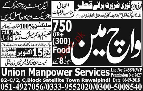 Watchman Jobs Career Opportunity in Qatar