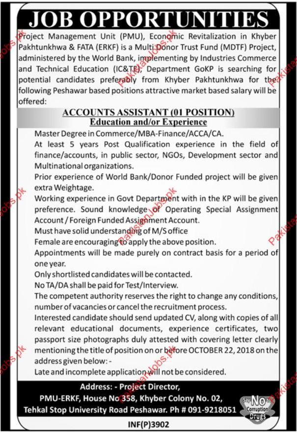 Accounts Assistant Jobs in Project Management Unit PMU