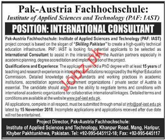 Institute of Applied Sciences & Technology Consultant Jobs