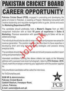 Sales & Marketing Jobs in Pakistan Cricket Board PCB 2019