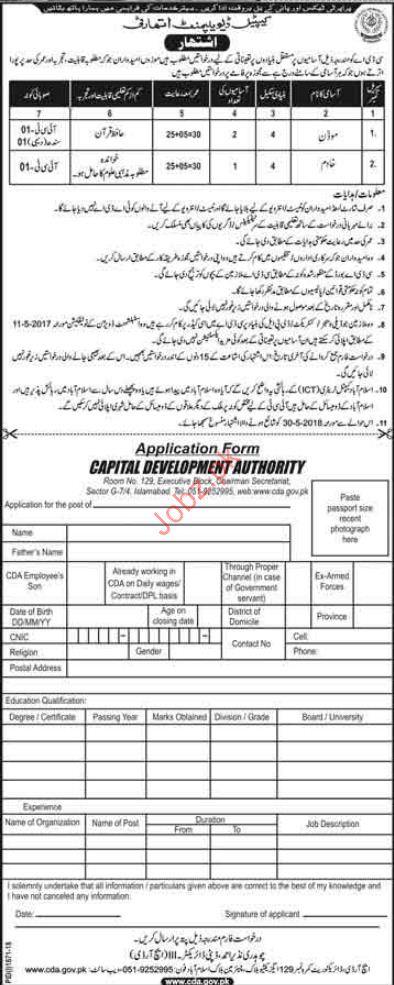 Moazzan Jobs in Capital Development Authority CDA