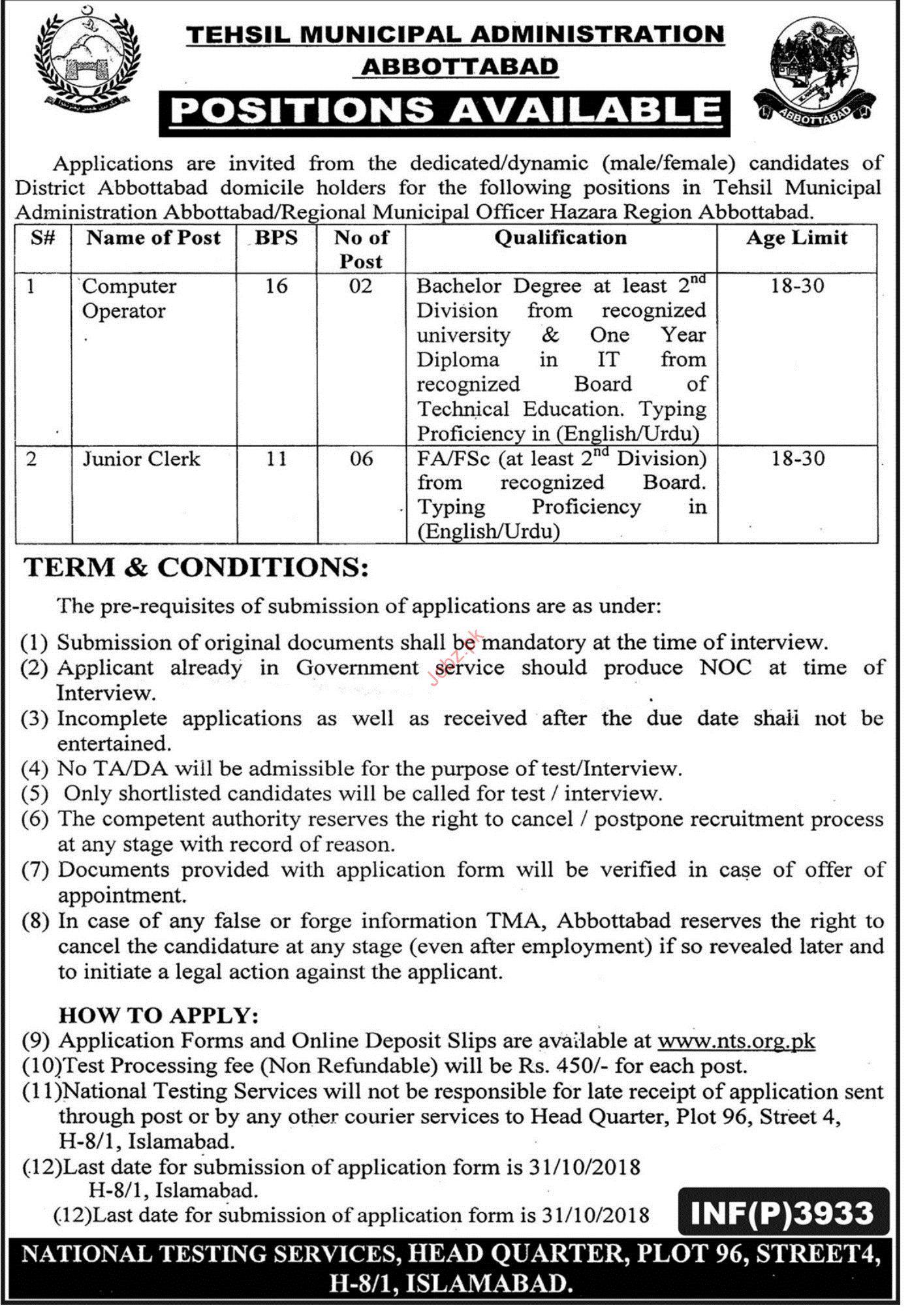 Tehsil Municipal Administration Computer Operator jobs 2018