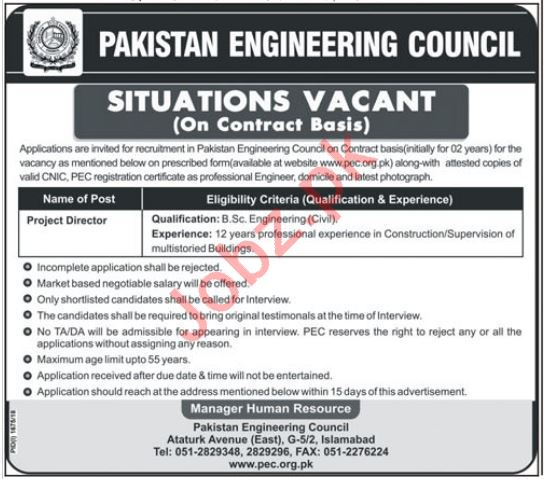 Pakistan Engineering Council PEC Project Director Jobs