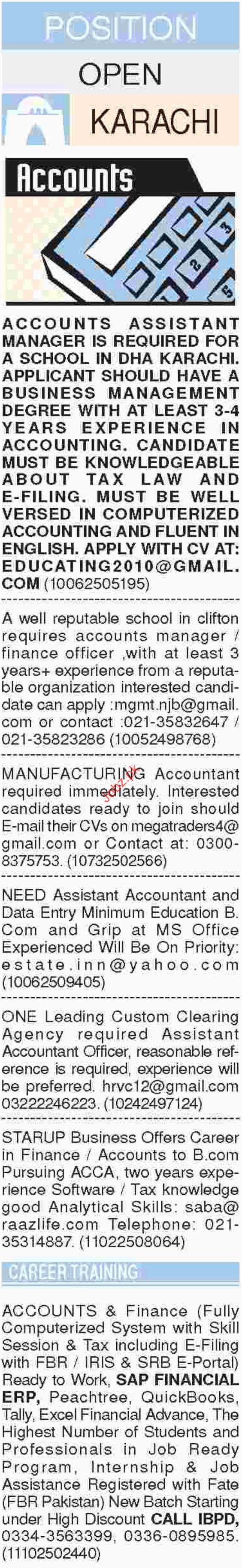 Dawn Sunday Classified Ads for Accounts Staff Jobs 2018