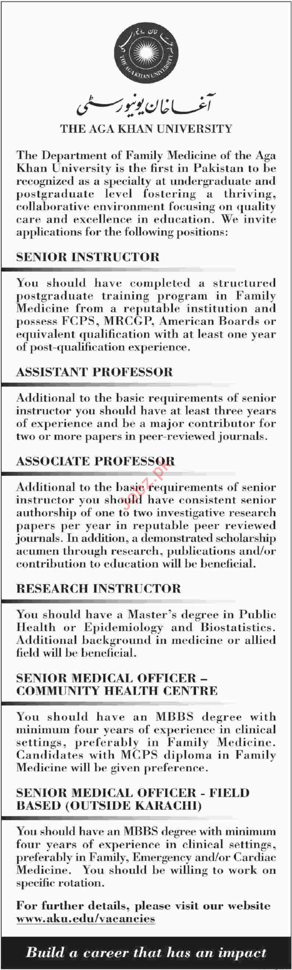 The Aga Khan University AKU Senior Instructor Jobs 2019 Job