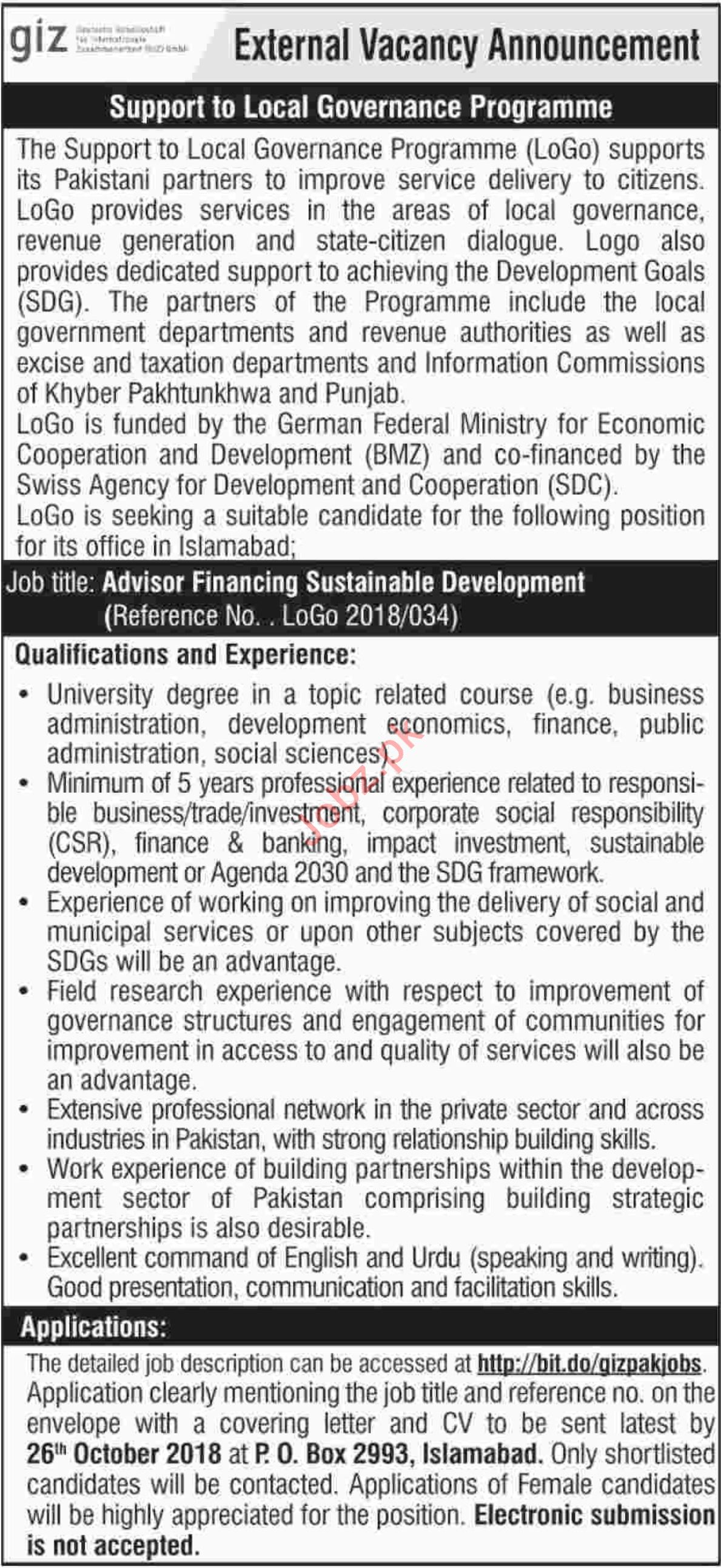 GIZ Pakistan Advisor Financing Sustainable Development Jobs