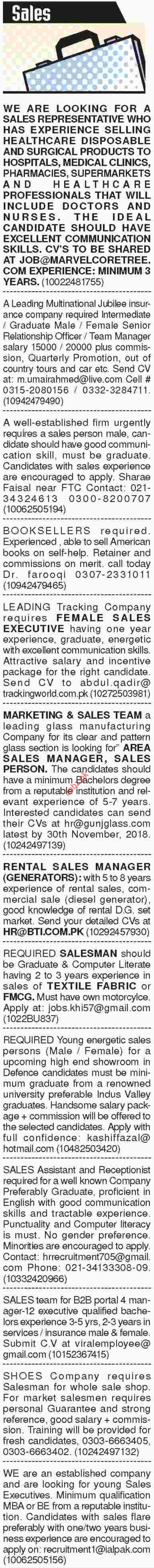 Dawn Sunday Classified Ads for Sales Staff Jobs 2018