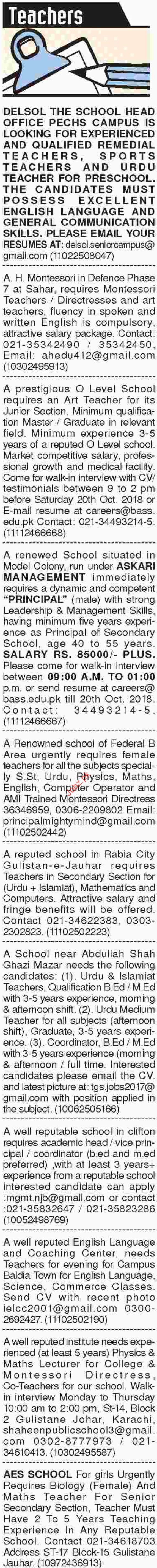 Dawn Sunday Classified Ads for Teaching Staff Jobs 2018