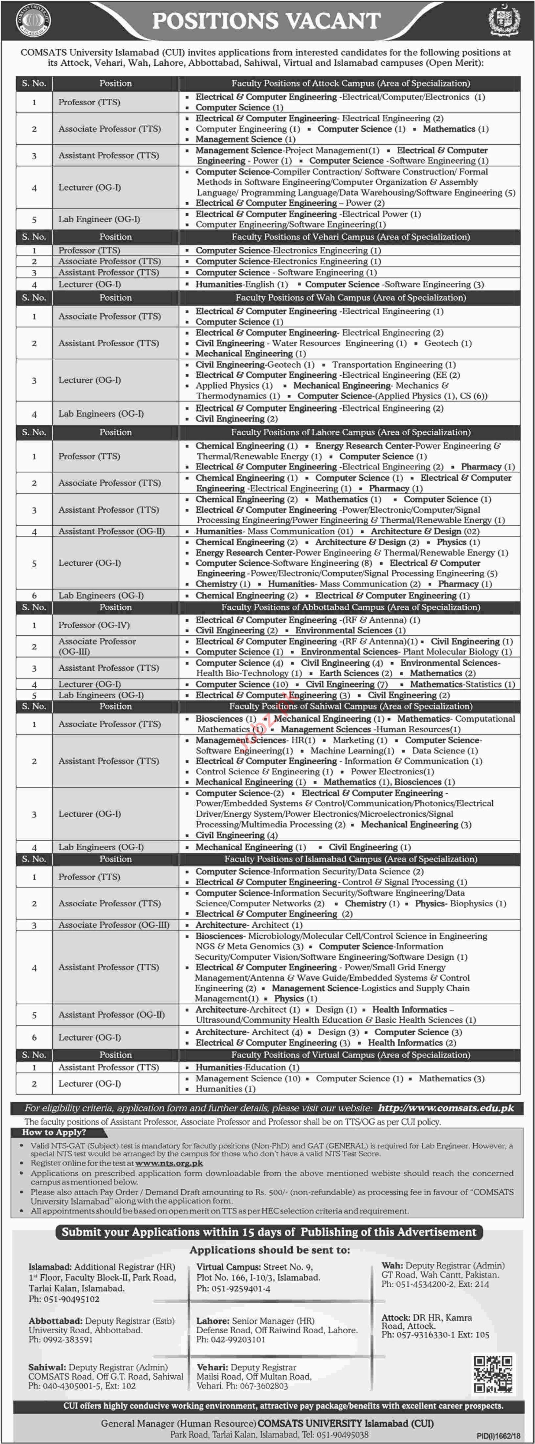 Comsats University Islamabad CUI Professor Jobs