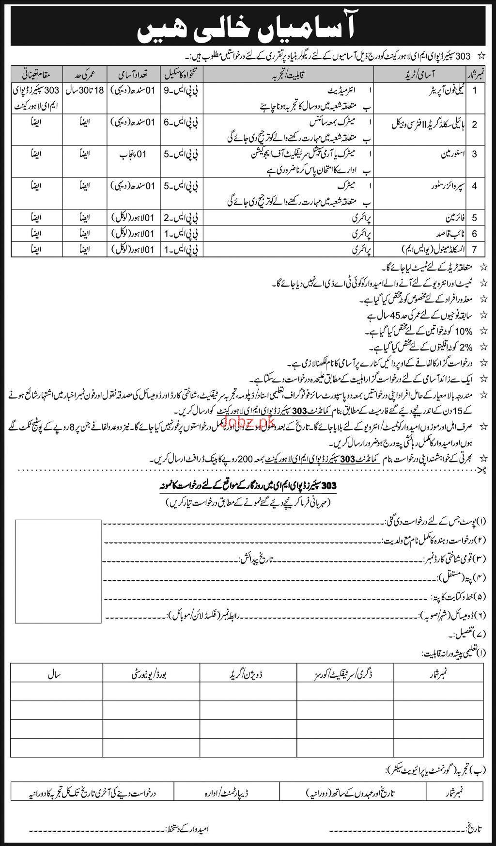 303 Spares Depot EME Lahore Telephone Operator Jobs