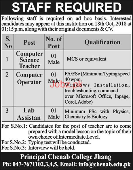 Chenab College Jhang  Male / Female Teachers Jobs