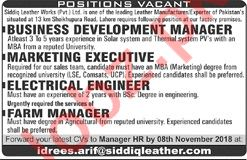 Siddiq Leather Business Development Manager Jobs