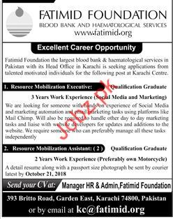 Fatimid Foundation Resource Mobilization Executive Jobs 2018
