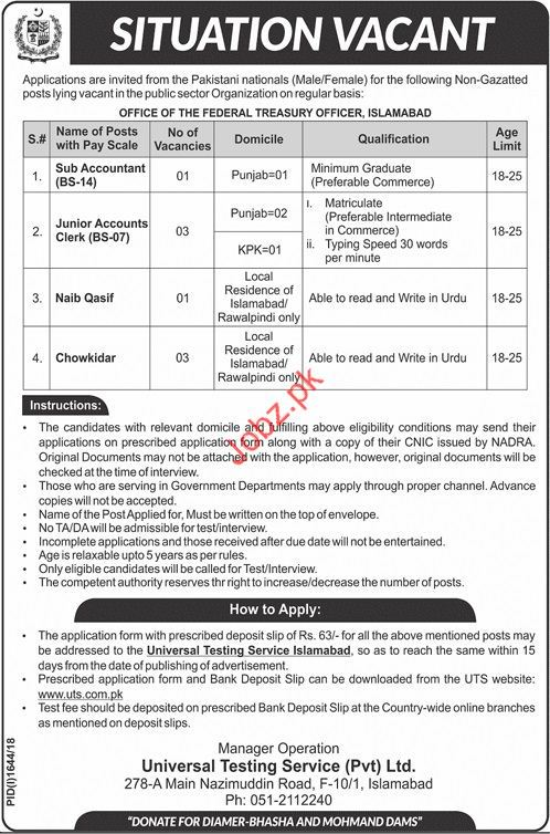 Sub Acountant Jobs in Pakistan Nationals