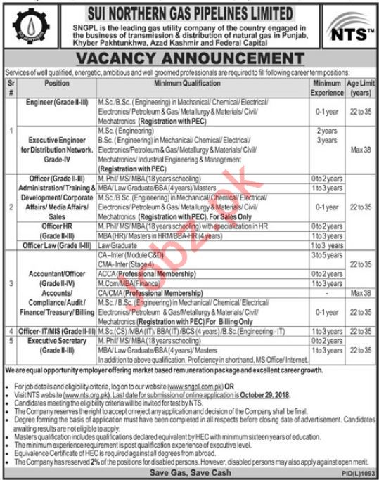 Sui Northern Gas Pipelines Limited SNGPL Jobs 2018 via NTS