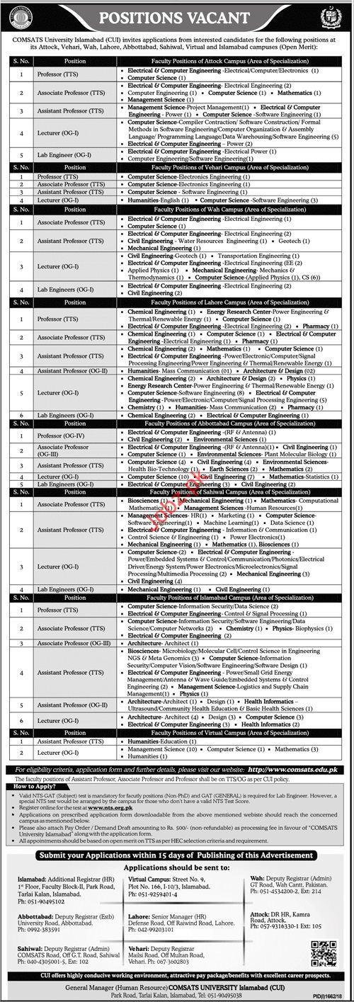 Comsats University Islamabad CUI Professor Jobs 2018