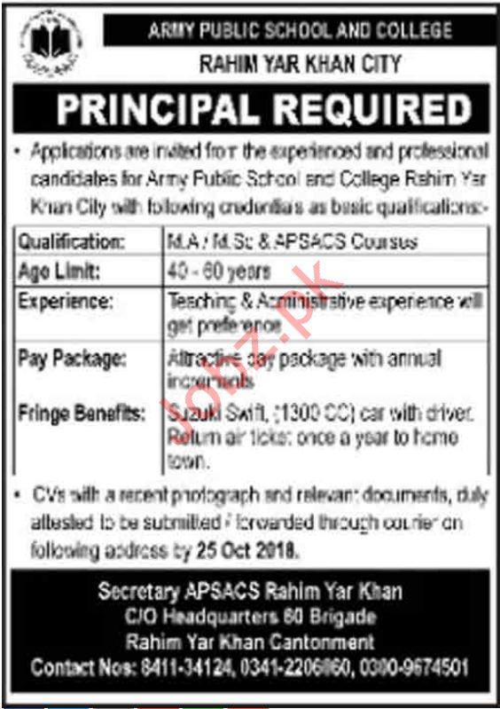 Army Public School & College Principal Job 2018