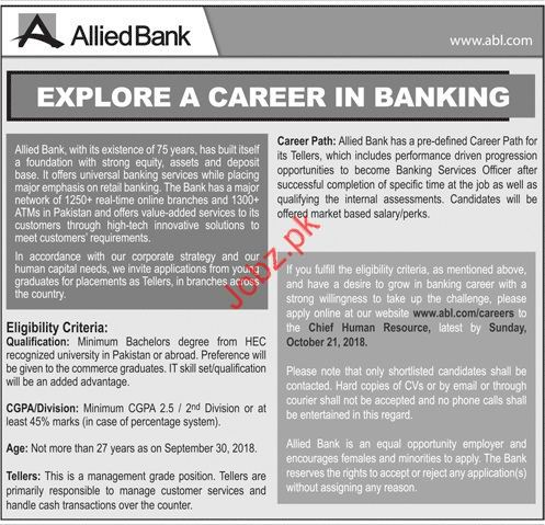 Tellers Jobs in Allied Bank Limited
