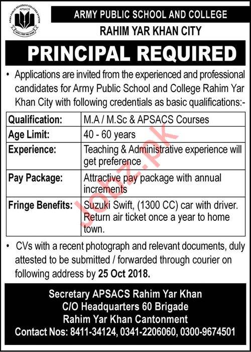 Army Public School And College Principal Job 2018