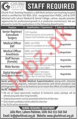 Ghurki Trust Teaching Hospital Senior Registrar Jobs 2018