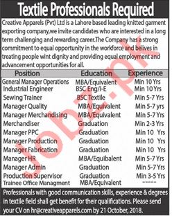 Creative Apparels Lahore Jobs 2018 for Managers