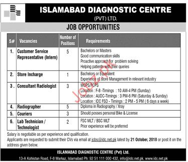 Islamabad Diagnostics Centre Customer Services Jobs 2018