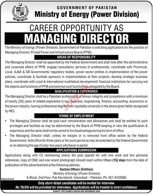 Ministry of Energy Managing Director Jobs 2018