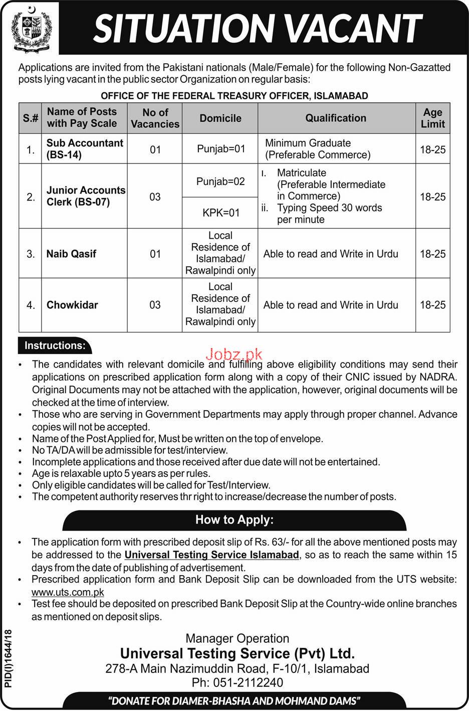Sub Accountant, Accounts Clerk, Naib Qasid, Chowkidar Jobs