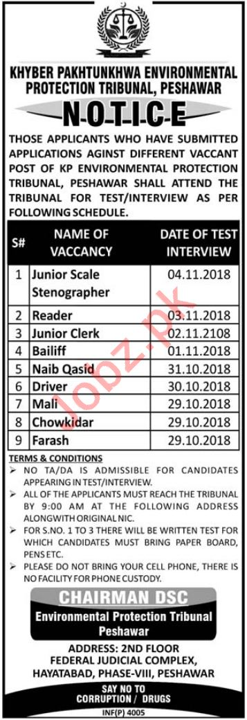 KP Environmental Protection Tribunal Jobs for Stenographer