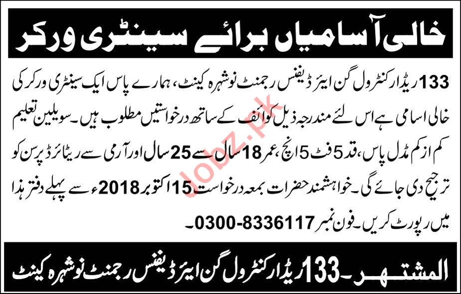 Air Defence Regiment Nowshera Cantt Jobs for Sweeper