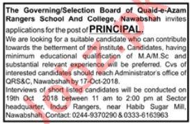 Quaid e Azam Rangers School & College Jobs for Principal