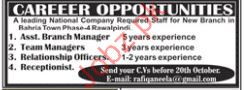 Assistant Branch Manager Jobs in Private Company