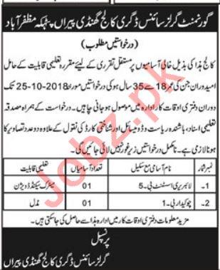 Govt Girls College Muzaffarabad Jobs for Library Assistant