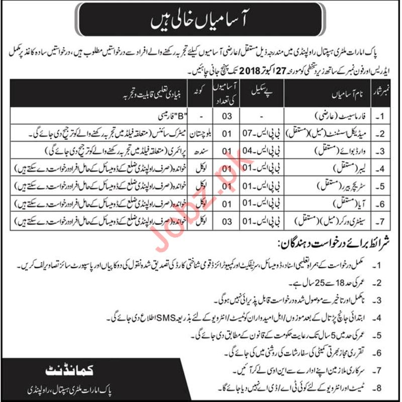 Combined Military Hospital CMH Rawalpindi Jobs 2018 2019 Job