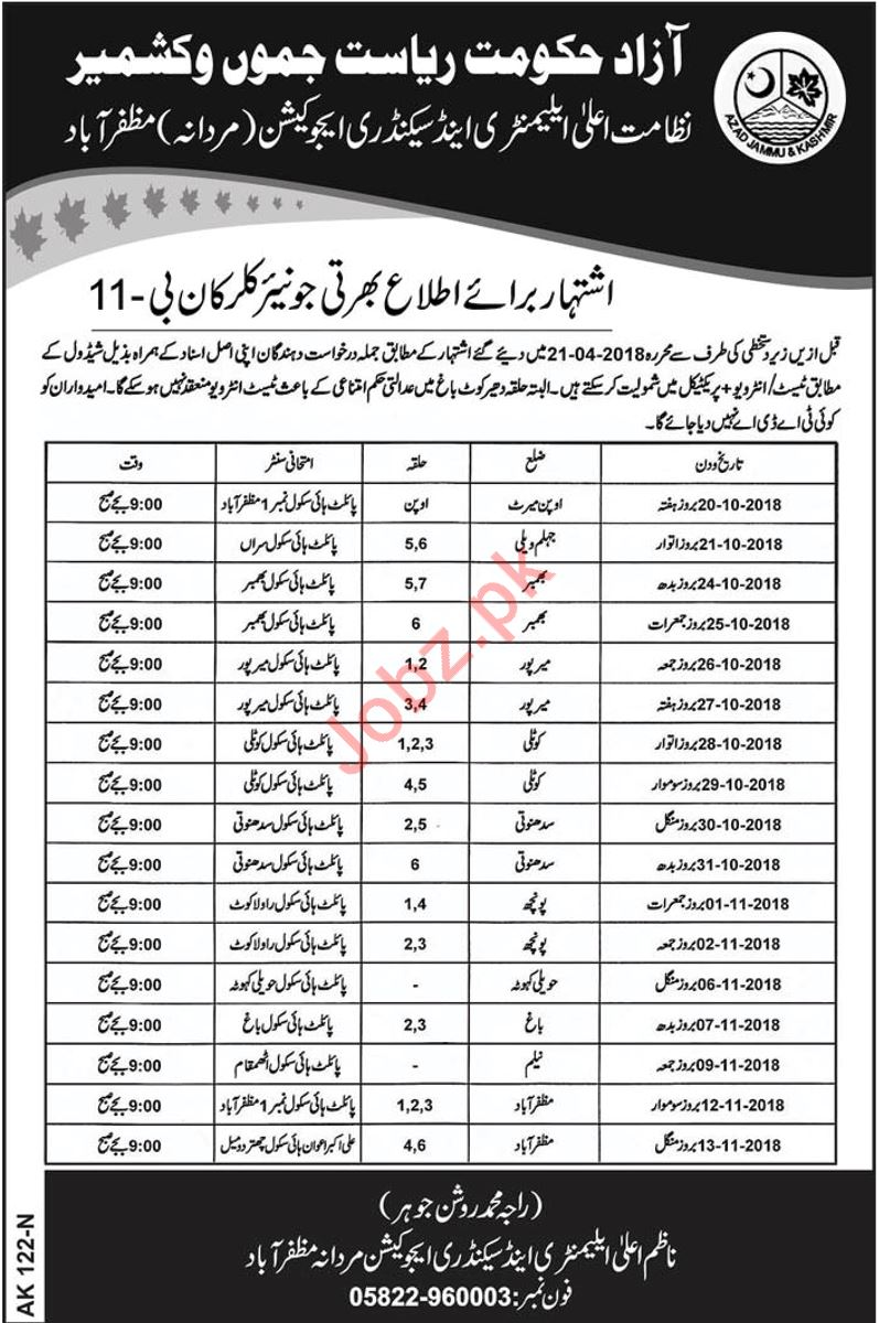 Elementary Secondary Education Ajk Nts Jobs 2018 Awam Pk